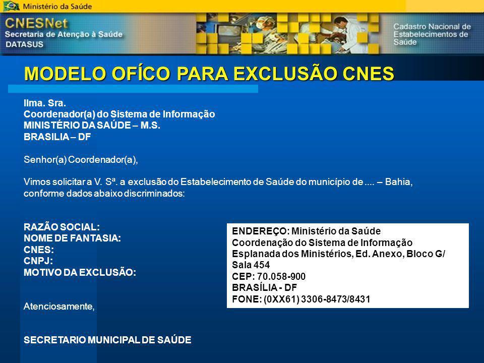 MODELO OFÍCO PARA EXCLUSÃO CNES