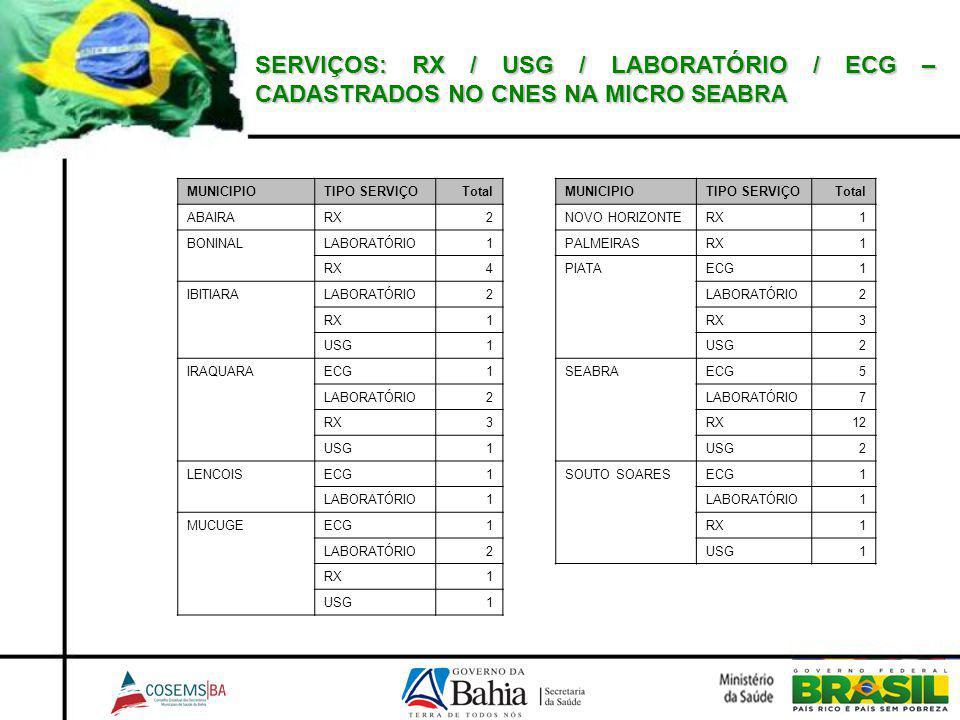SERVIÇOS: RX / USG / LABORATÓRIO / ECG – CADASTRADOS NO CNES NA MICRO SEABRA