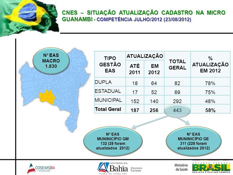 CNES – SITUAÇÃO ATUALIZAÇÃO CADASTRO NA MICRO GUANAMBI - COMPETÊNCIA JULHO/2012 (23/08/2012)