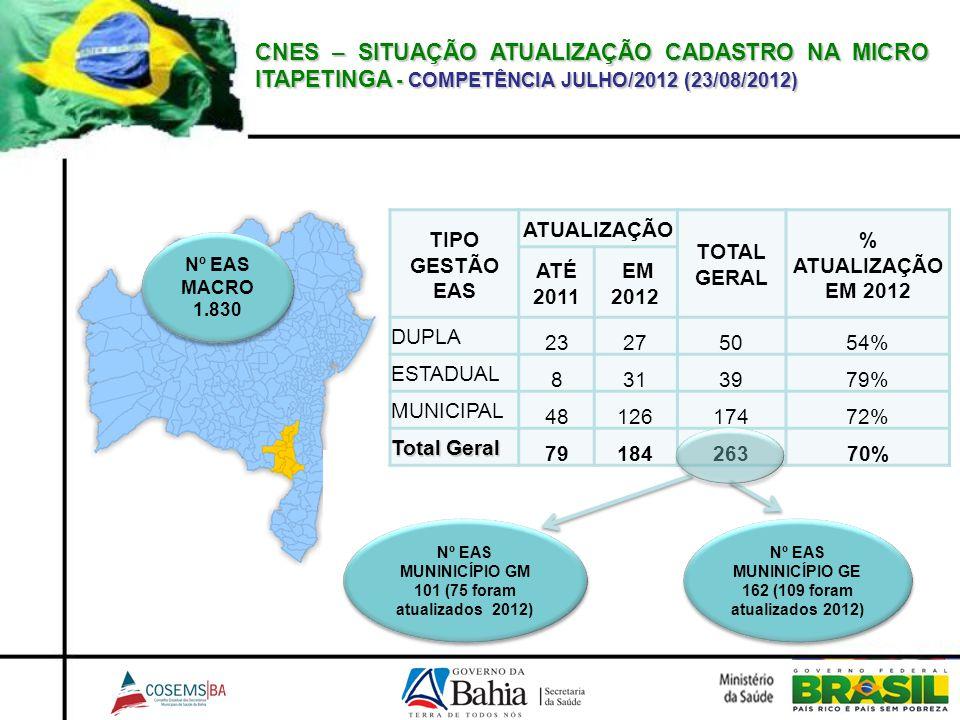 CNES – SITUAÇÃO ATUALIZAÇÃO CADASTRO NA MICRO ITAPETINGA - COMPETÊNCIA JULHO/2012 (23/08/2012)