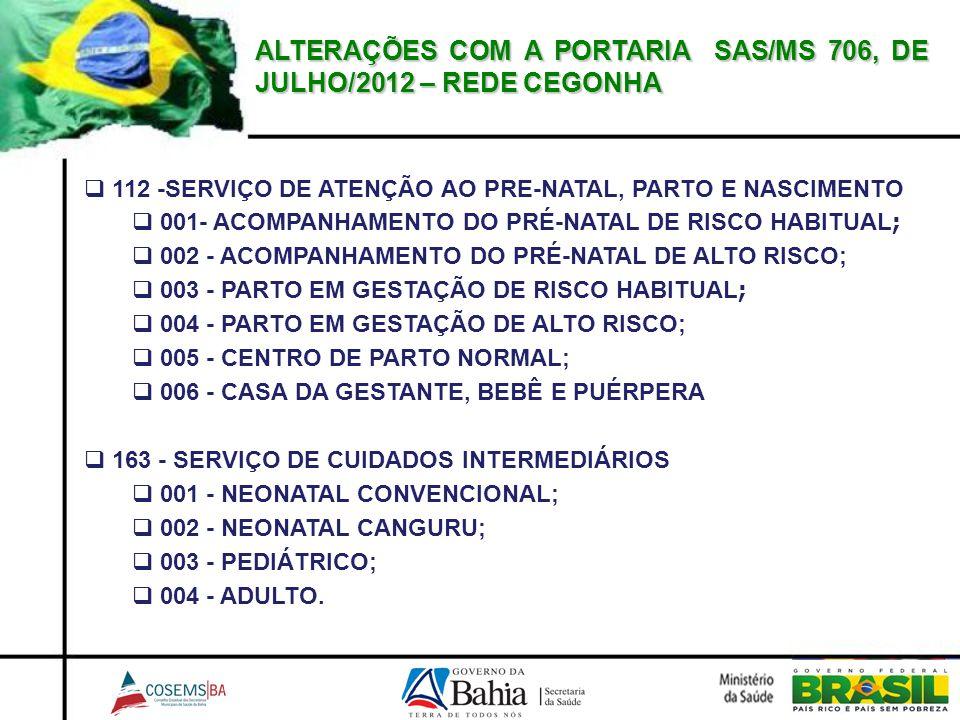 ALTERAÇÕES COM A PORTARIA SAS/MS 706, DE JULHO/2012 – REDE CEGONHA