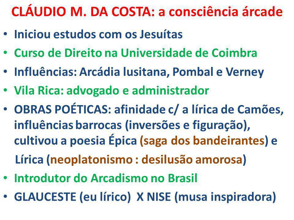 CLÁUDIO M. DA COSTA: a consciência árcade