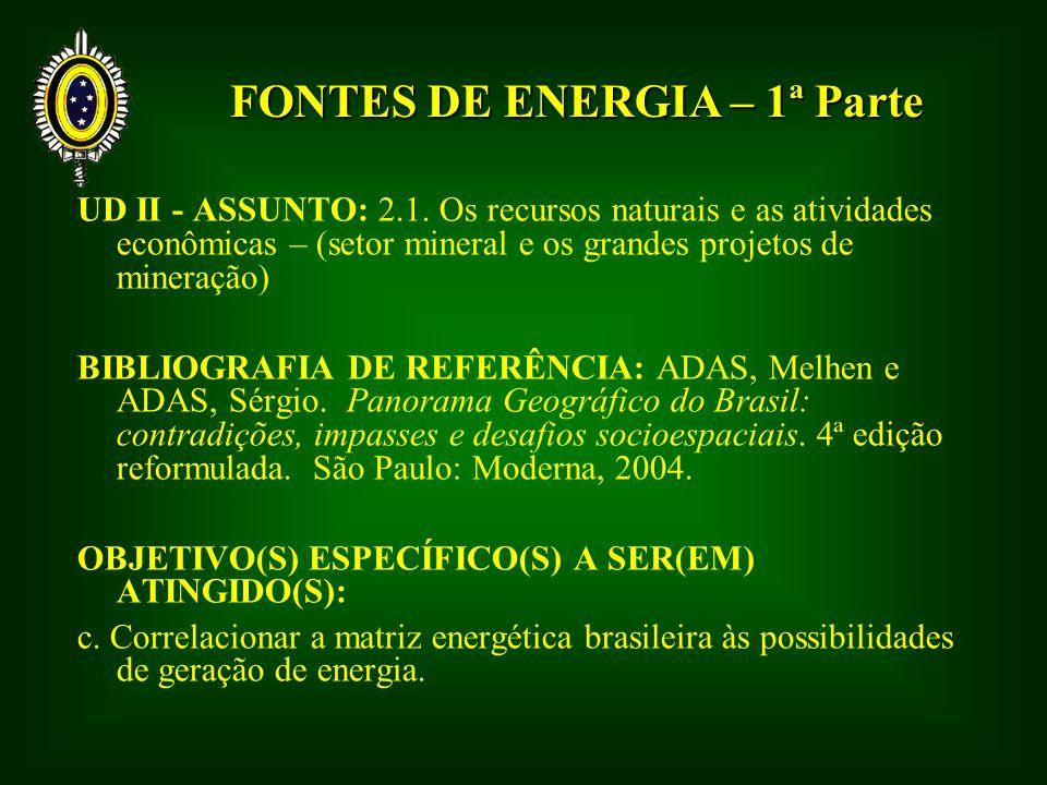 FONTES DE ENERGIA – 1ª Parte