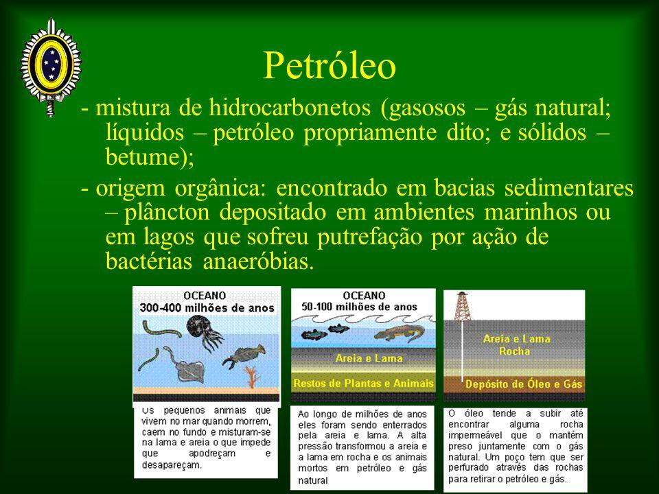 Petróleo - mistura de hidrocarbonetos (gasosos – gás natural; líquidos – petróleo propriamente dito; e sólidos – betume);
