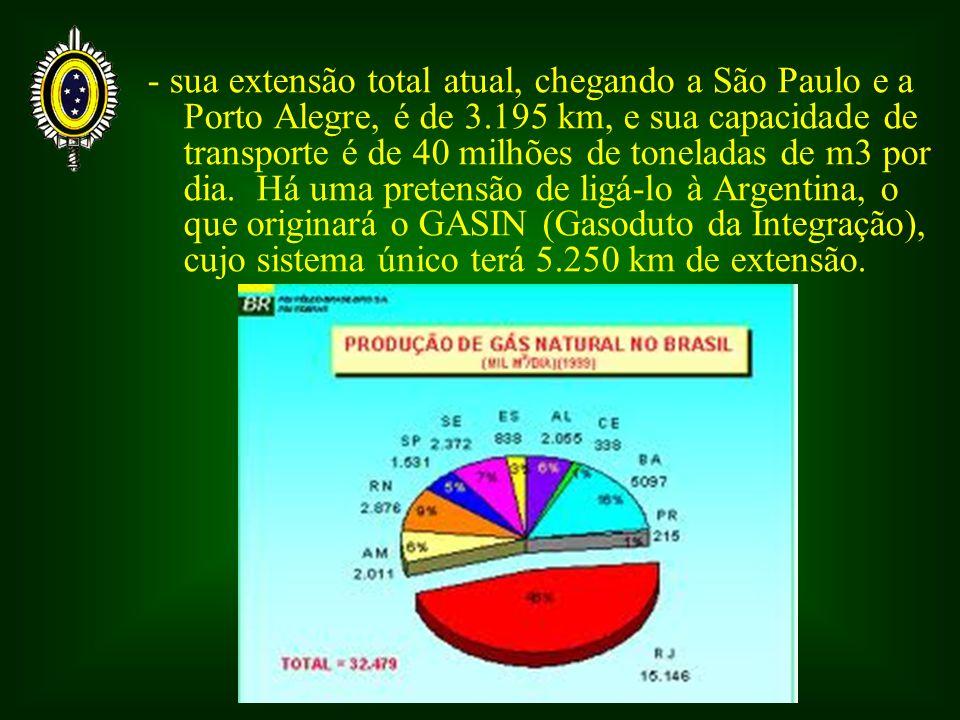 - sua extensão total atual, chegando a São Paulo e a Porto Alegre, é de 3.195 km, e sua capacidade de transporte é de 40 milhões de toneladas de m3 por dia.