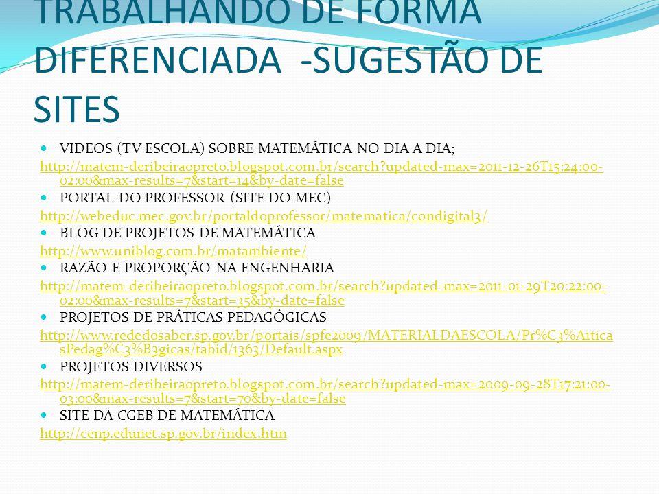 TRABALHANDO DE FORMA DIFERENCIADA -SUGESTÃO DE SITES