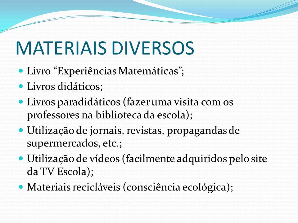 MATERIAIS DIVERSOS Livro Experiências Matemáticas ; Livros didáticos;