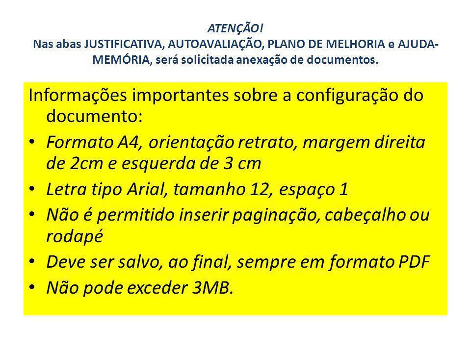 Informações importantes sobre a configuração do documento: