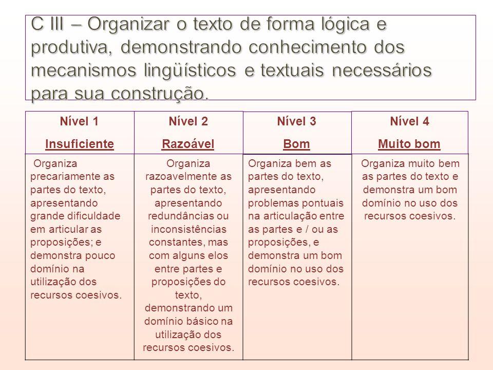 C III – Organizar o texto de forma lógica e produtiva, demonstrando conhecimento dos mecanismos lingüísticos e textuais necessários para sua construção.