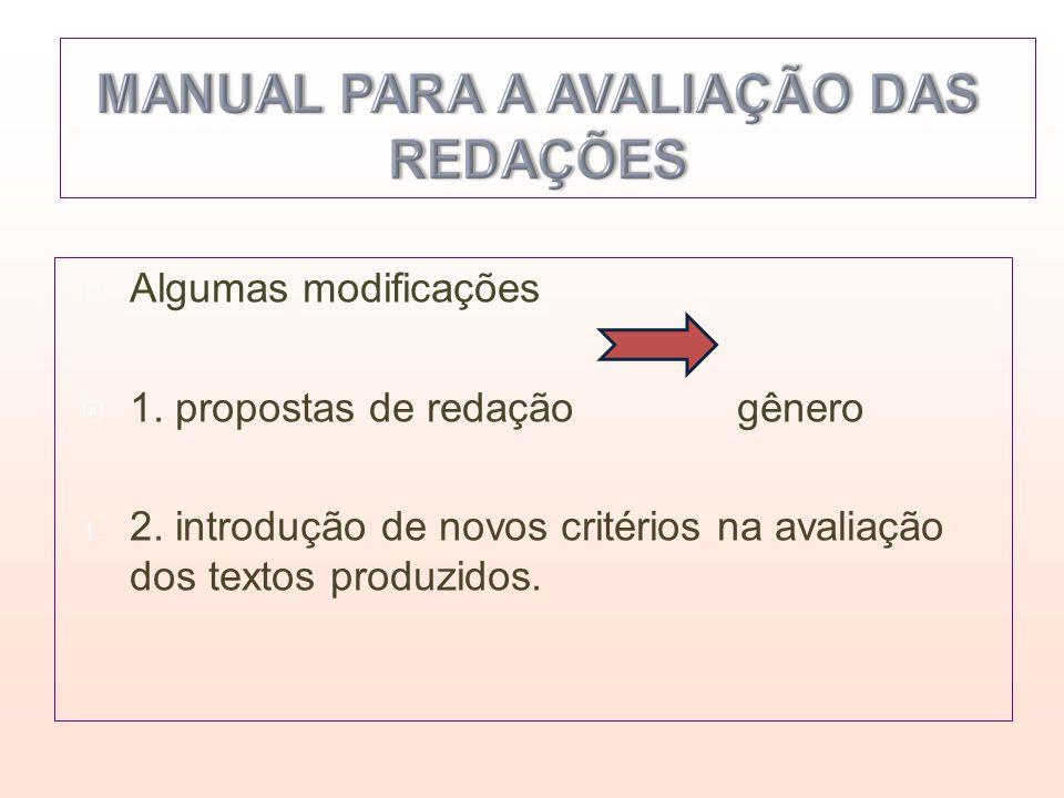 Algumas modificações 1. propostas de redação gênero.