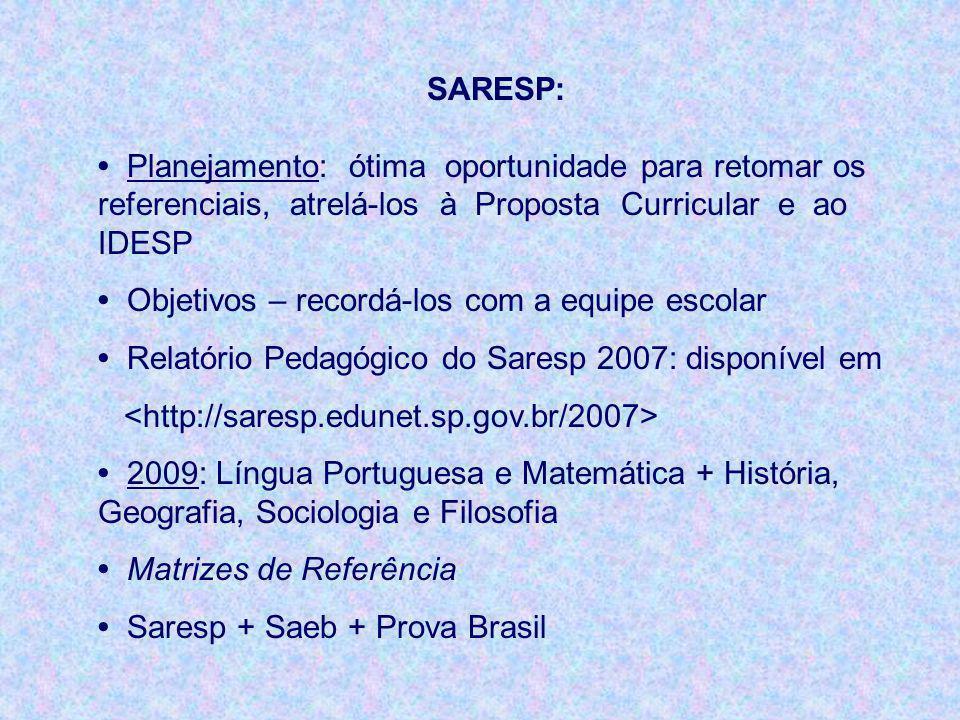 SARESP: • Planejamento: ótima oportunidade para retomar os referenciais, atrelá-los à Proposta Curricular e ao IDESP.