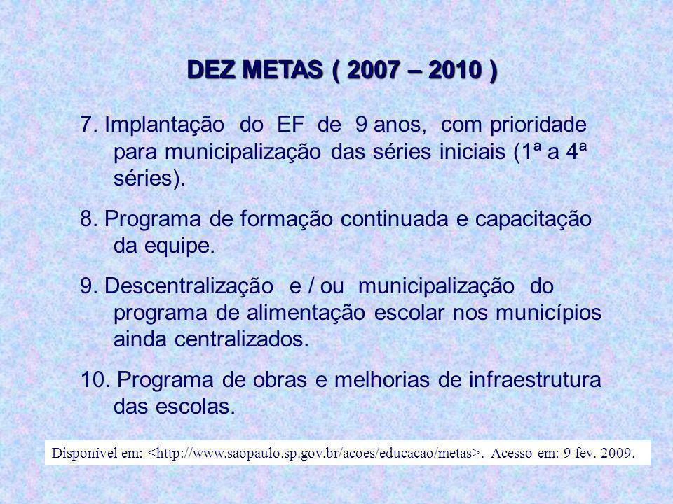 DEZ METAS ( 2007 – 2010 ) 7. Implantação do EF de 9 anos, com prioridade para municipalização das séries iniciais (1ª a 4ª séries).