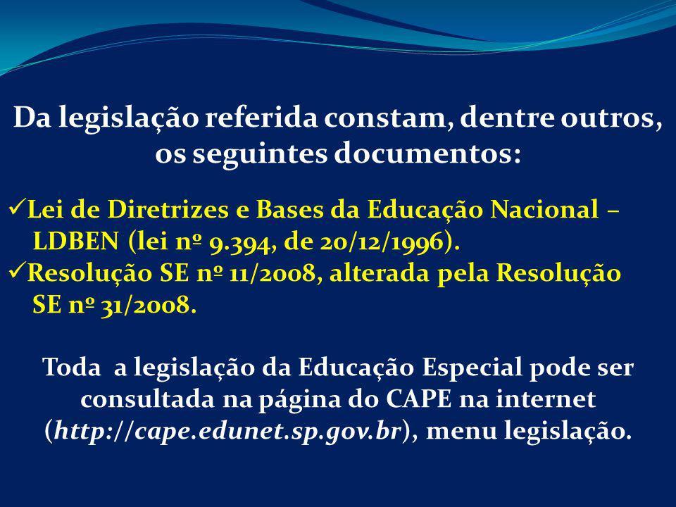 (http://cape.edunet.sp.gov.br), menu legislação.