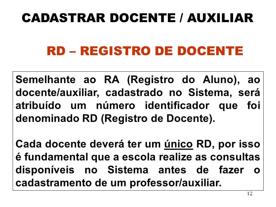 CADASTRAR DOCENTE / AUXILIAR