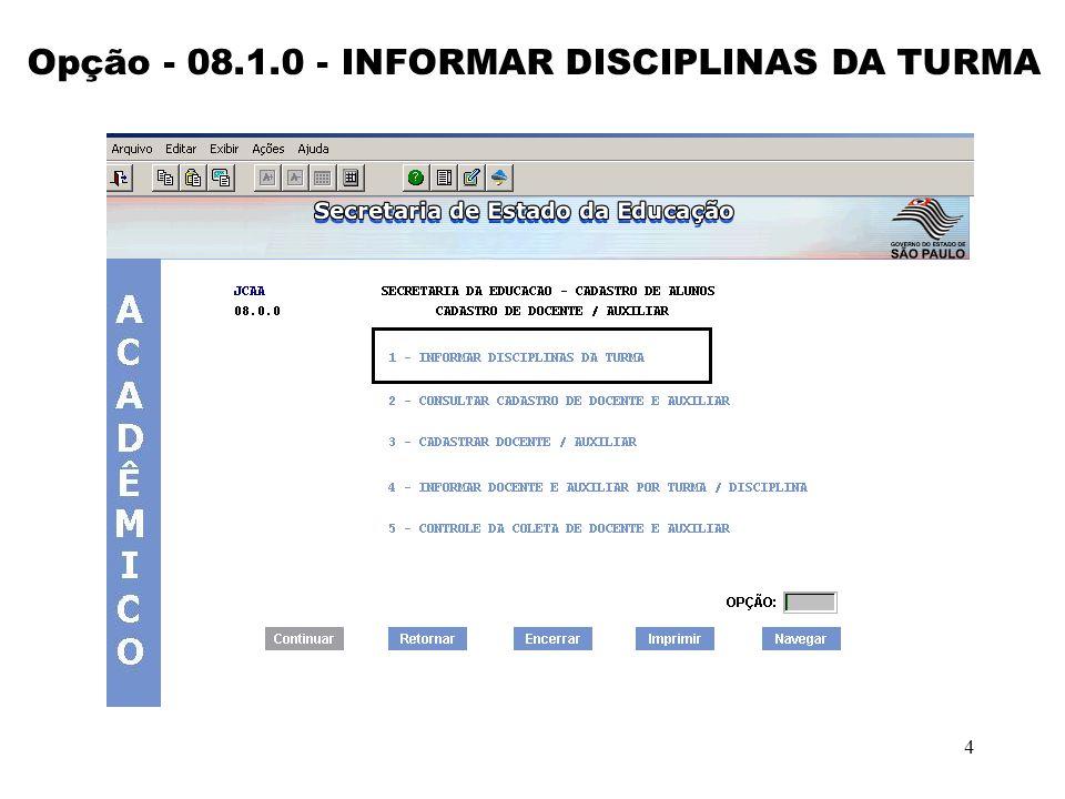 Opção - 08.1.0 - INFORMAR DISCIPLINAS DA TURMA