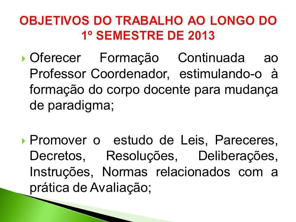 OBJETIVOS DO TRABALHO AO LONGO DO 1º SEMESTRE DE 2013