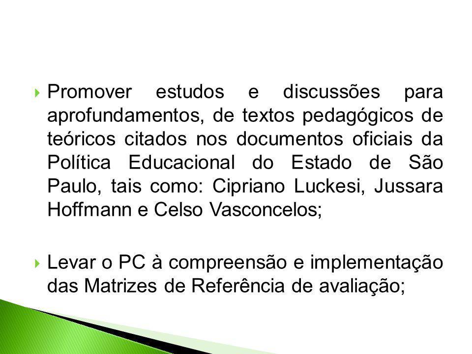 Promover estudos e discussões para aprofundamentos, de textos pedagógicos de teóricos citados nos documentos oficiais da Política Educacional do Estado de São Paulo, tais como: Cipriano Luckesi, Jussara Hoffmann e Celso Vasconcelos;