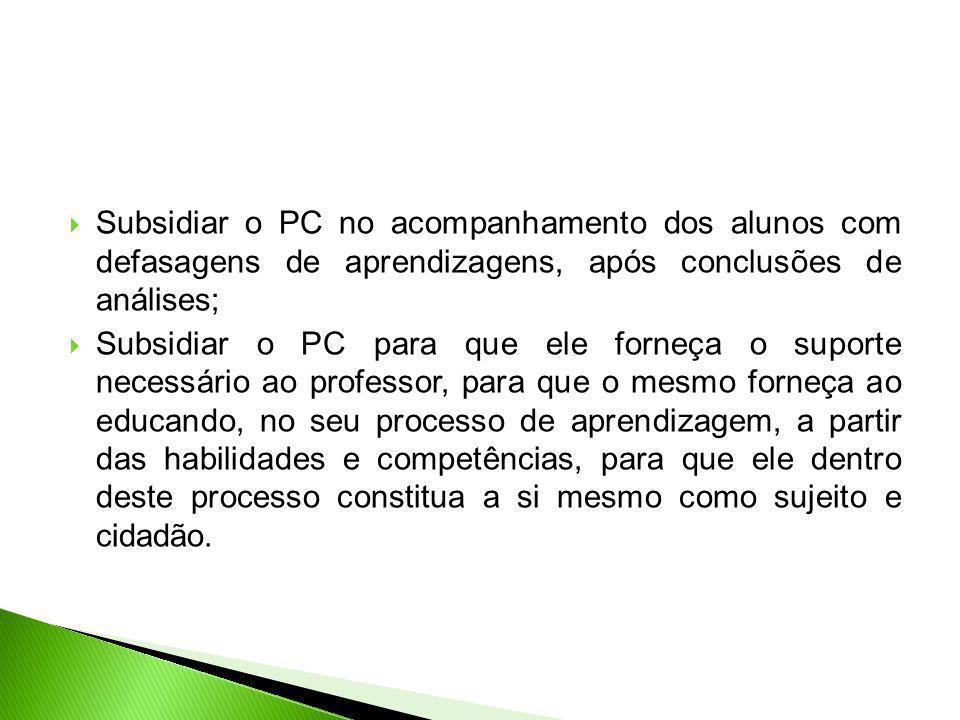 Subsidiar o PC no acompanhamento dos alunos com defasagens de aprendizagens, após conclusões de análises;