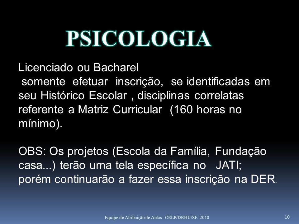 PSICOLOGIA Licenciado ou Bacharel