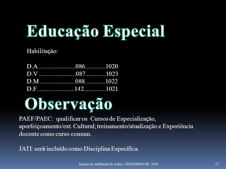 Educação Especial Observação