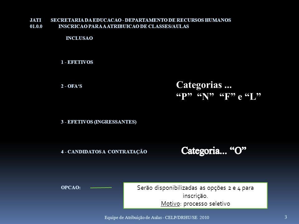 Categorias ... P N F e L Categoria... O