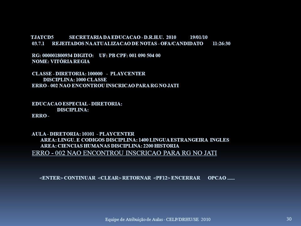 TJATCD5 SECRETARIA DA EDUCACAO - D.R.H.U. 2010 19/01/10