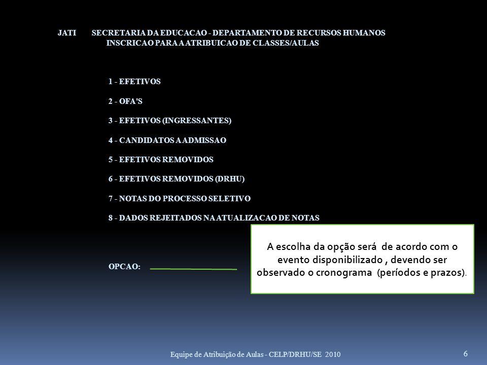 JATI SECRETARIA DA EDUCACAO - DEPARTAMENTO DE RECURSOS HUMANOS