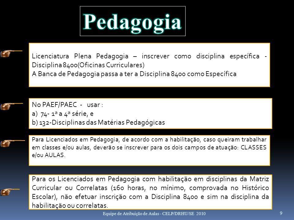 Pedagogia Licenciatura Plena Pedagogia – inscrever como disciplina específica - Disciplina 8400(Oficinas Curriculares)