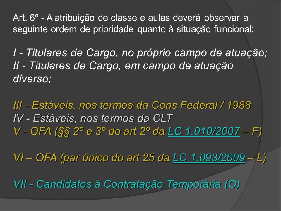 I - Titulares de Cargo, no próprio campo de atuação;