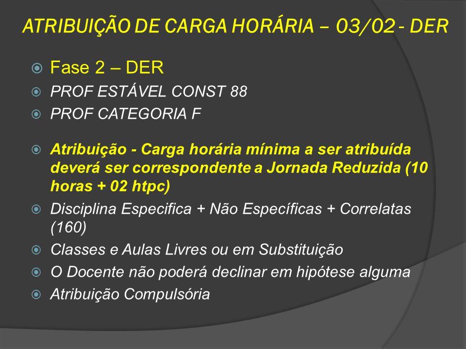 ATRIBUIÇÃO DE CARGA HORÁRIA – 03/02 - DER