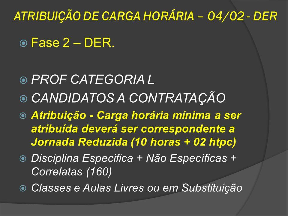 ATRIBUIÇÃO DE CARGA HORÁRIA – 04/02 - DER