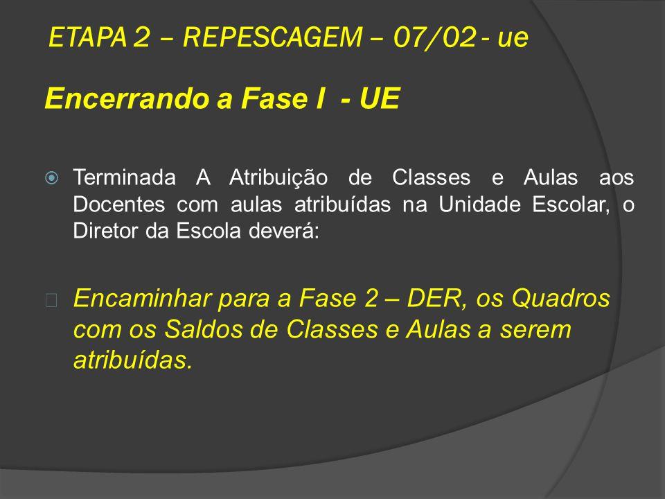 ETAPA 2 – REPESCAGEM – 07/02 - ue