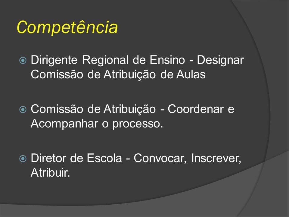 Competência Dirigente Regional de Ensino - Designar Comissão de Atribuição de Aulas. Comissão de Atribuição - Coordenar e Acompanhar o processo.