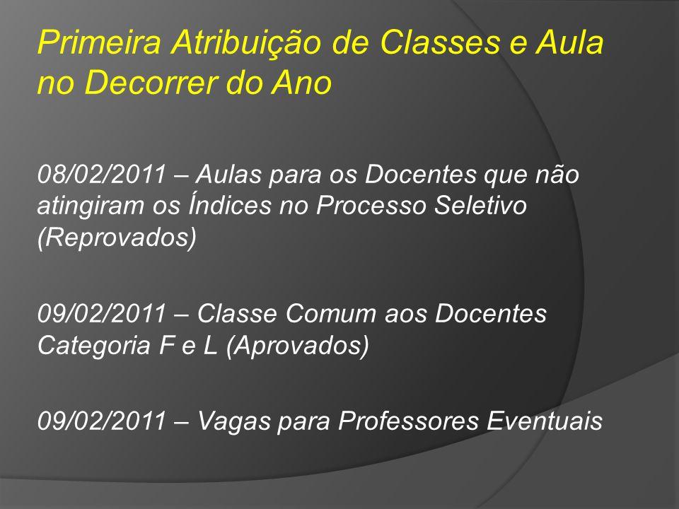 Primeira Atribuição de Classes e Aula no Decorrer do Ano