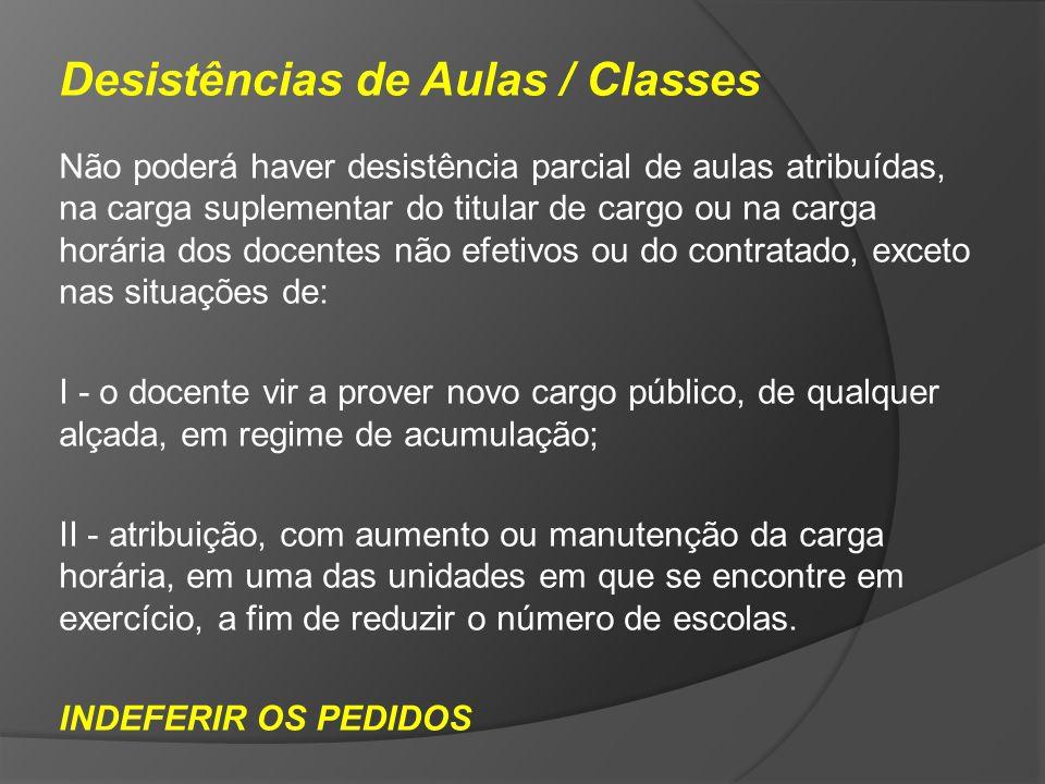 Desistências de Aulas / Classes