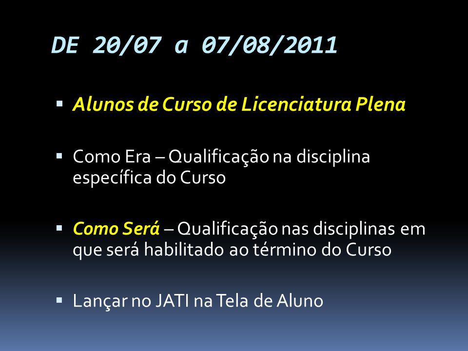 DE 20/07 a 07/08/2011 Alunos de Curso de Licenciatura Plena