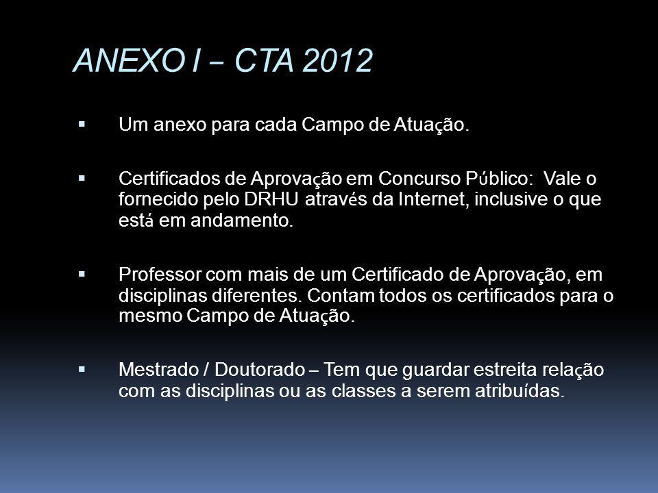 ANEXO I – CTA 2012 Um anexo para cada Campo de Atuação.