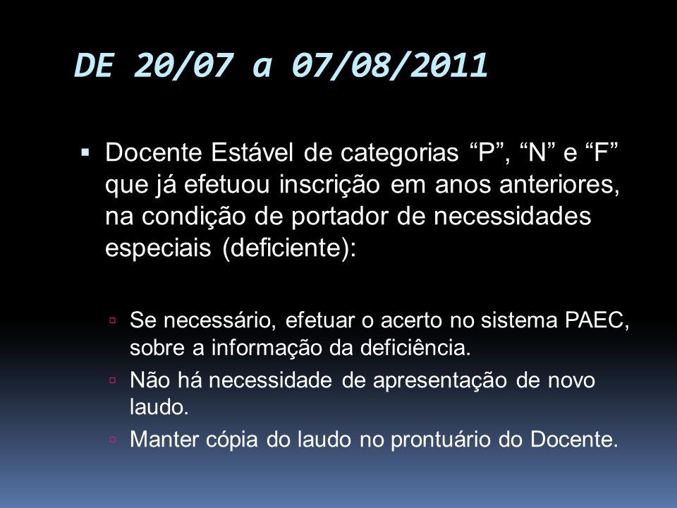 DE 20/07 a 07/08/2011