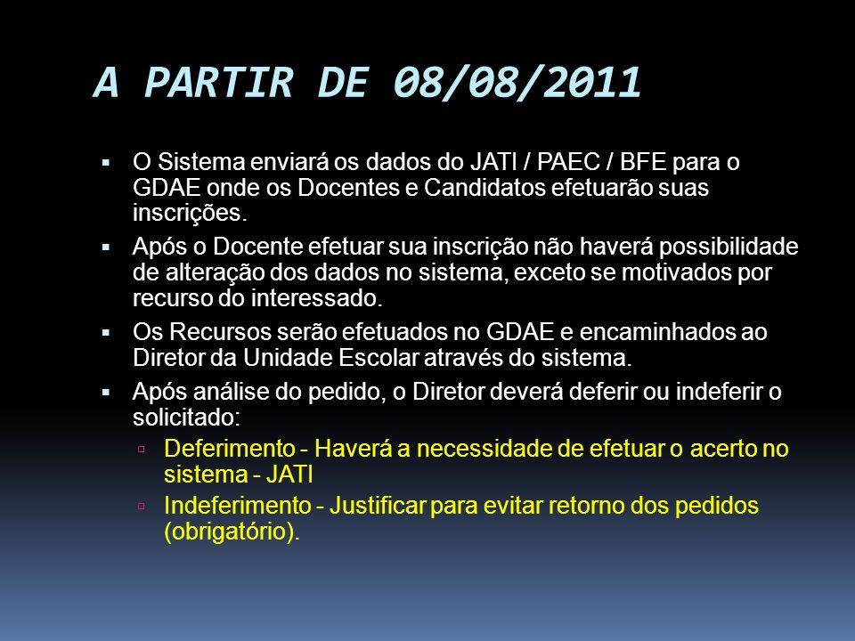 A PARTIR DE 08/08/2011 O Sistema enviará os dados do JATI / PAEC / BFE para o GDAE onde os Docentes e Candidatos efetuarão suas inscrições.