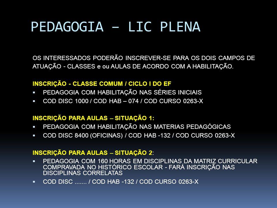 PEDAGOGIA – LIC PLENA OS INTERESSADOS PODERÃO INSCREVER-SE PARA OS DOIS CAMPOS DE. ATUAÇÃO - CLASSES e ou AULAS DE ACORDO COM A HABILITAÇÃO.