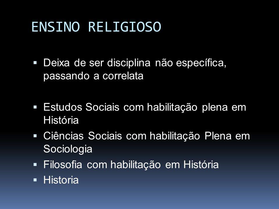 ENSINO RELIGIOSO Deixa de ser disciplina não específica, passando a correlata. Estudos Sociais com habilitação plena em História.