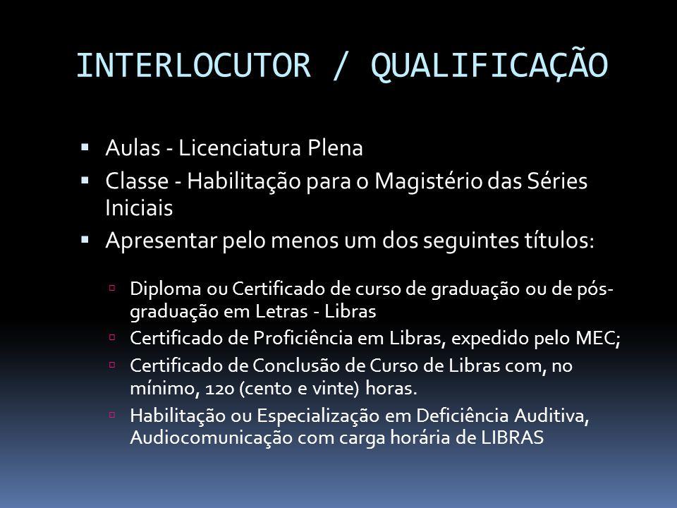 INTERLOCUTOR / QUALIFICAÇÃO