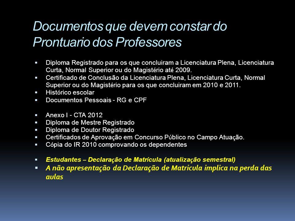 Documentos que devem constar do Prontuario dos Professores