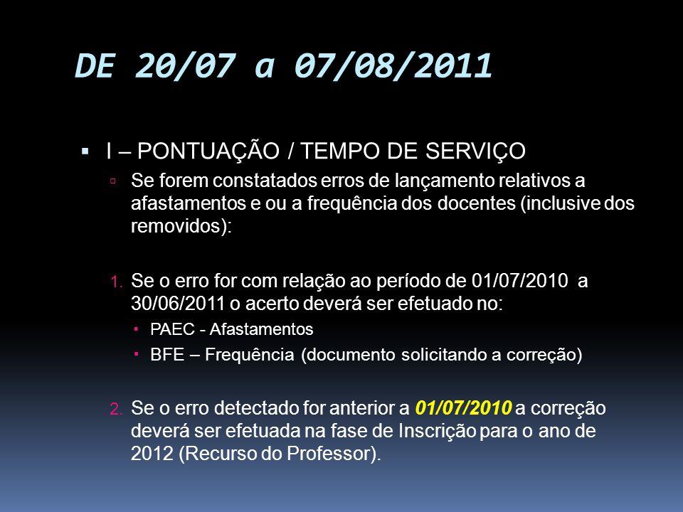 DE 20/07 a 07/08/2011 I – PONTUAÇÃO / TEMPO DE SERVIÇO