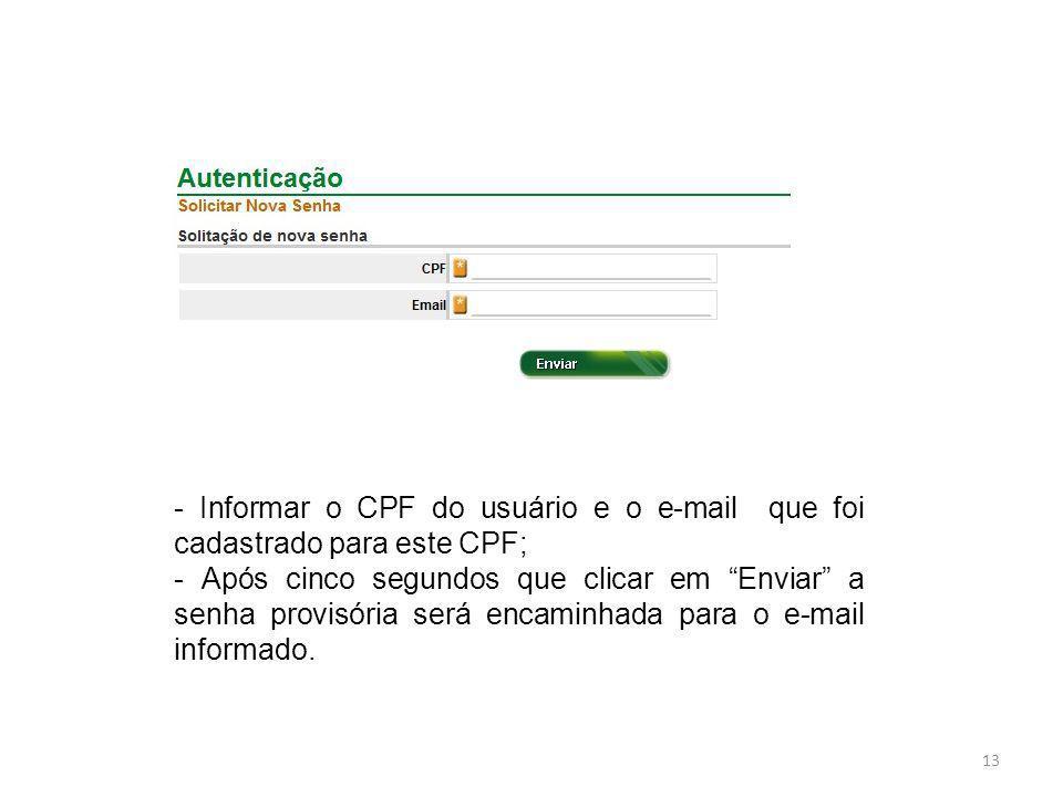 - Informar o CPF do usuário e o e-mail que foi cadastrado para este CPF;