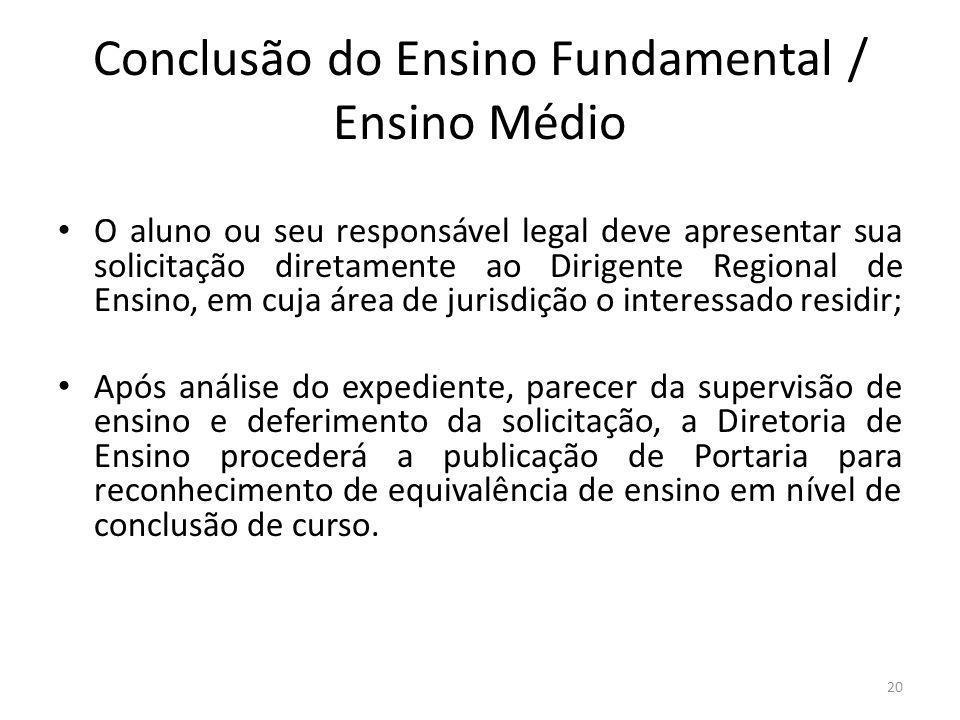 Conclusão do Ensino Fundamental / Ensino Médio