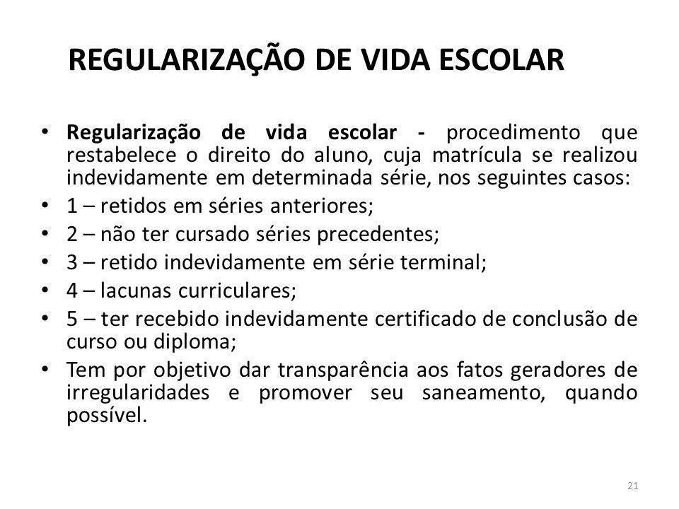 REGULARIZAÇÃO DE VIDA ESCOLAR