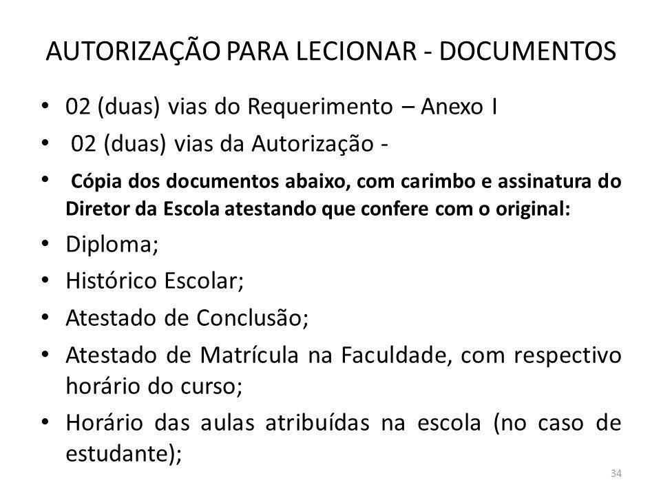 AUTORIZAÇÃO PARA LECIONAR - DOCUMENTOS