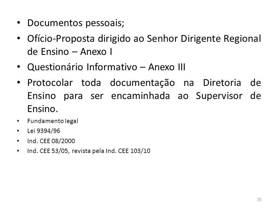 Questionário Informativo – Anexo III
