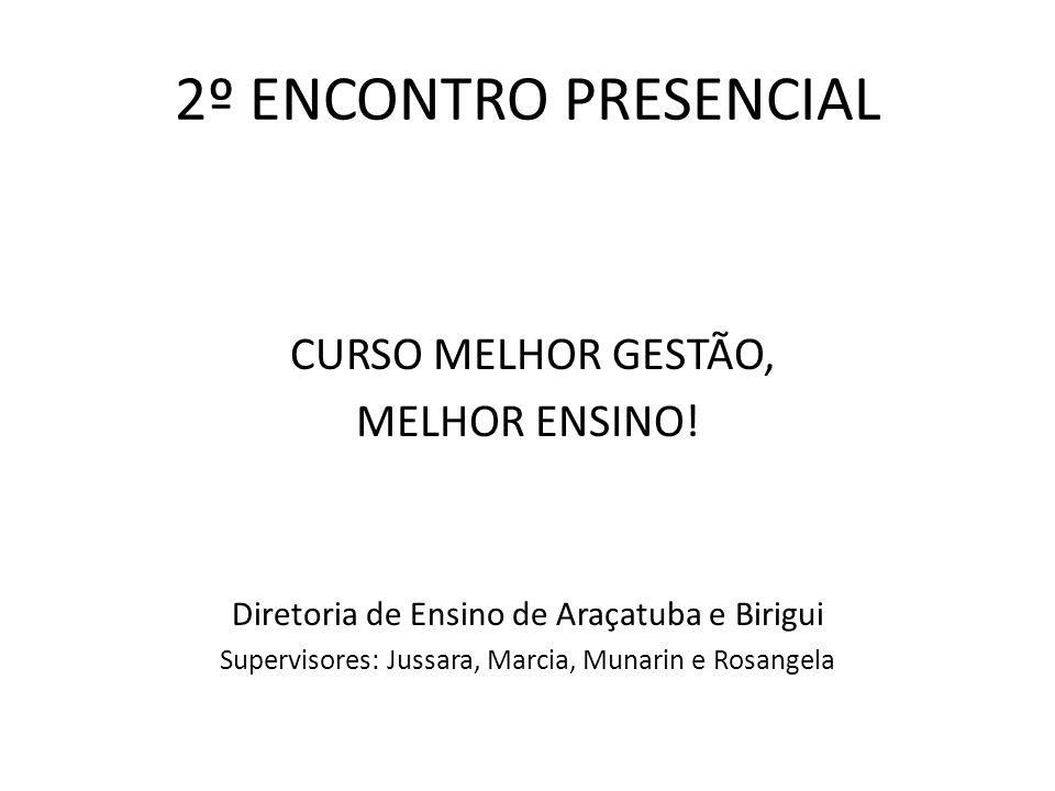 2º ENCONTRO PRESENCIAL CURSO MELHOR GESTÃO, MELHOR ENSINO!